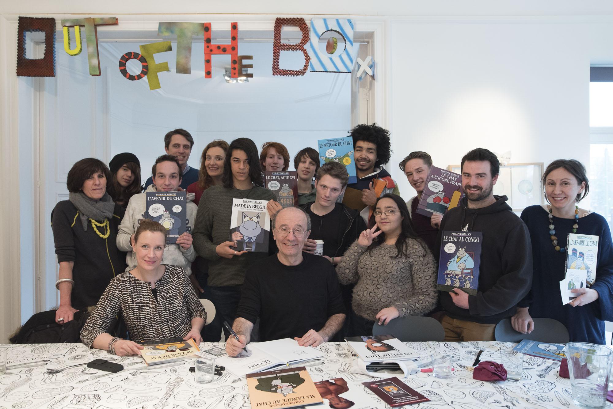 Philippe Geluck à Out of the box, atelier pédagogique à Bruxelles. Photographies de Jérôme Hubert
