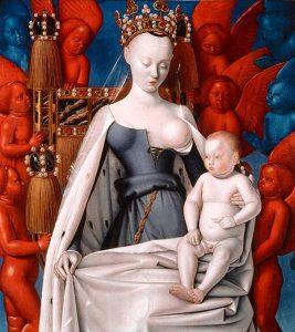 Jean Fouquet (1420-1480), La Vierge à l'enfant entourée d'anges, ca 1454, peinture sur bois, collection Musée des Beaux Arts d'Anvers
